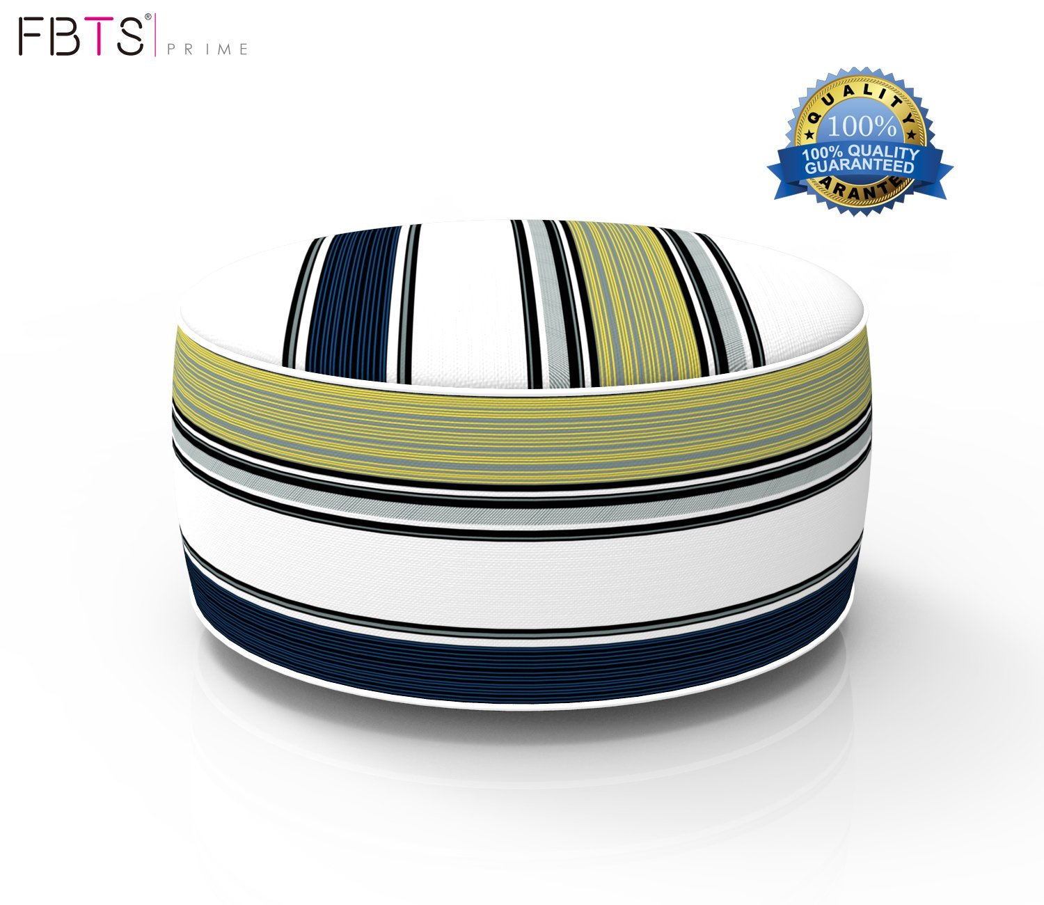 FBTS Prime Outdoor Inflatable Ottoman Navy and Yellow Stripe Round Patio Foot Stools and Ottomans Suitable for Kids and Adults Portable Travel Footstool Used for Outdoor Camping Home Yoga Foot Rest