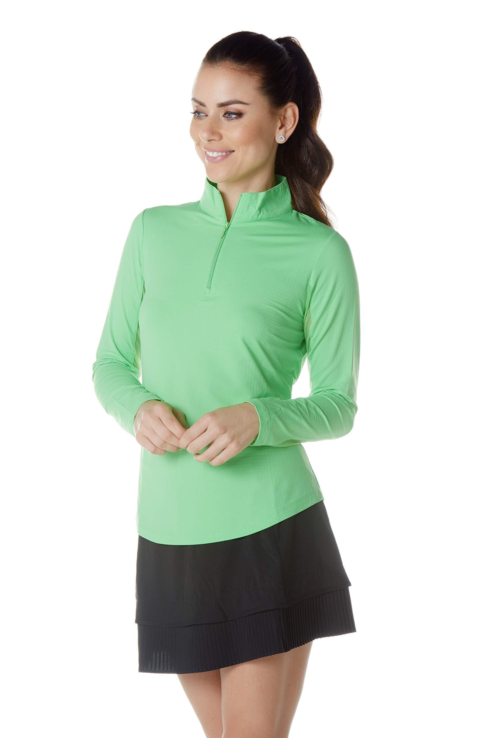 IBKUL Women's Solid Mock Neck Top - 80000 (XL, Lime) by IBKUL