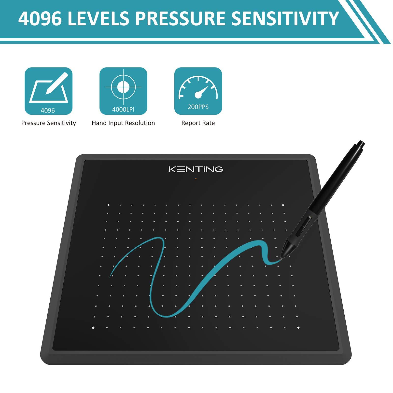 KENTING K5540 Disegno Tavoletta Grafica 5,5 x 4 Pollici OSU Digitale Pen Tablet con Penna 4096 Livelli di Pressione per Dipingere Disegnare ed Editare Foto Signature Pad Compatibile con Windows Mac