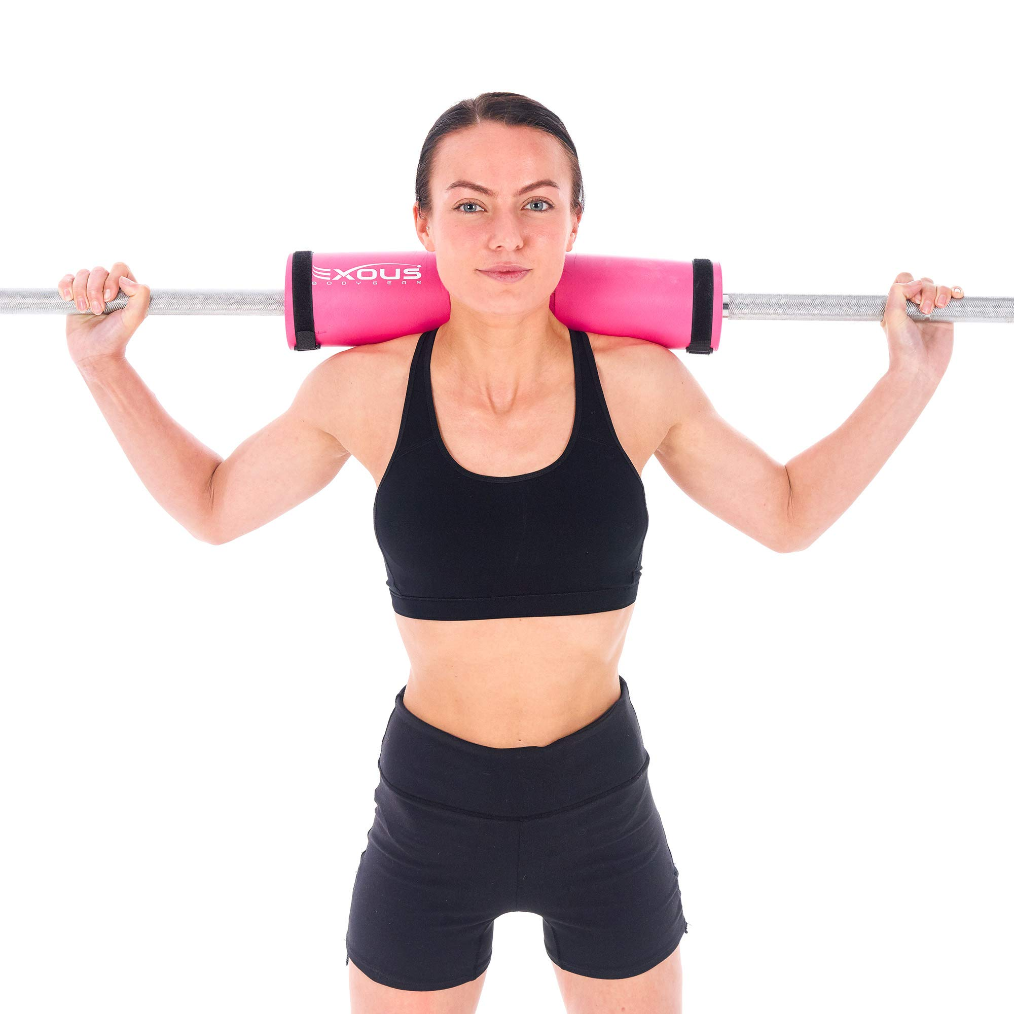 EXOUS Bodygear Barbell Pad Squat Bar Thick Foam Cushion - Protector for Neck & Shoulders - Fits Olympic Weight Lifting Bar - Velcro Straps for Non Slip Fit (Pink)