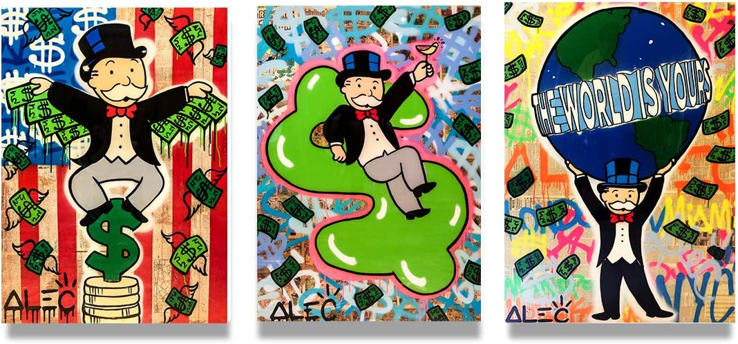 3 Panels ALEC Monopoly Art Canvas Wall Art Prints on Canvas The World is Yours,Money Wings Modern Decor Walls Paintings (16