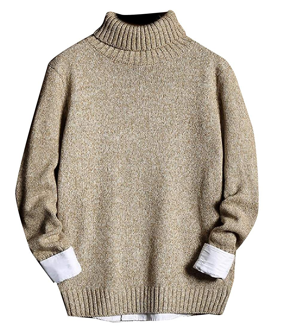 YUNY Mens Slim Casual Semi-hign Collar Chunky Knitted Pullover 3 L