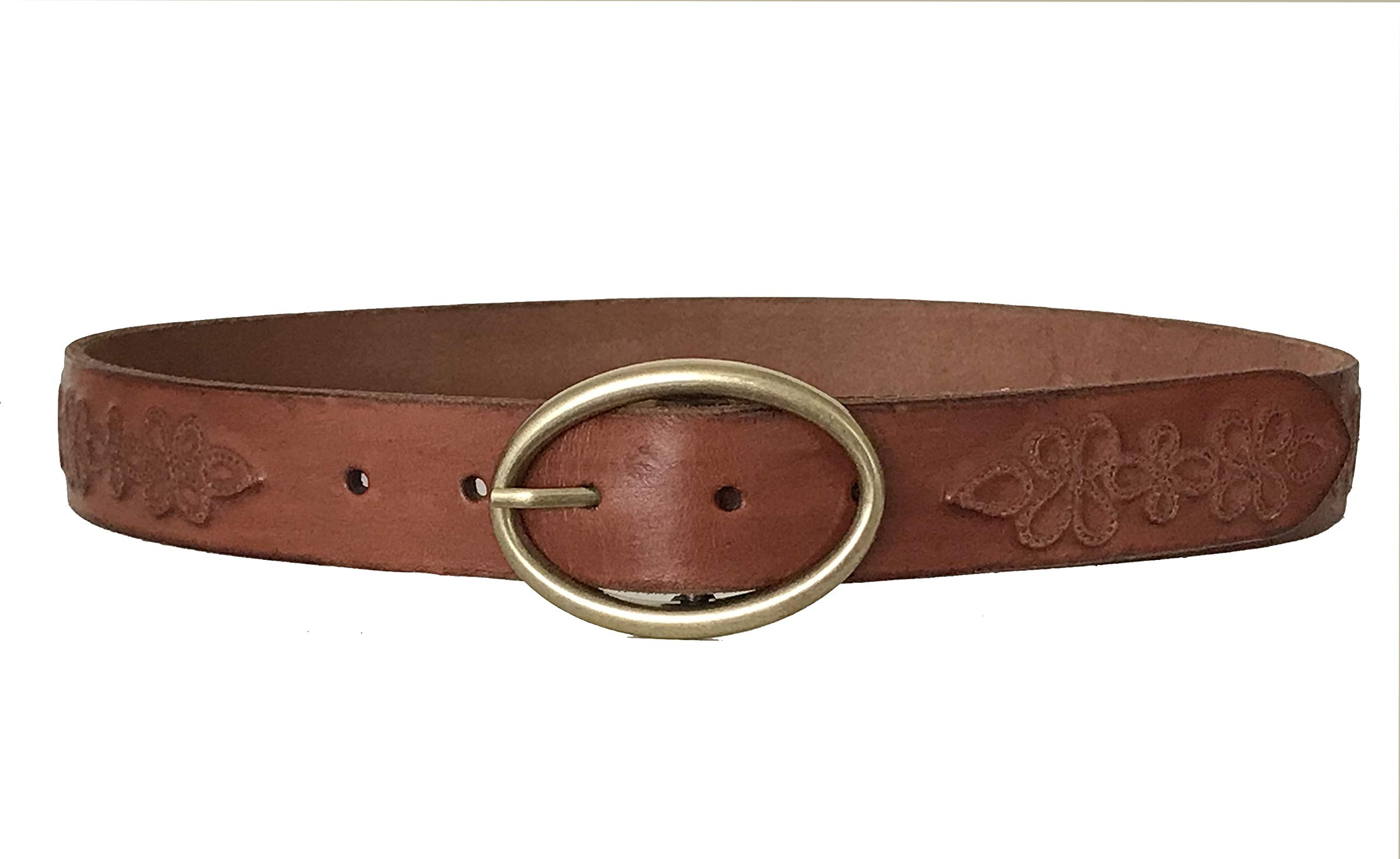 Lucky Brand - Women's - Metallic Floral Embossed Brown Leather Belt (Small)