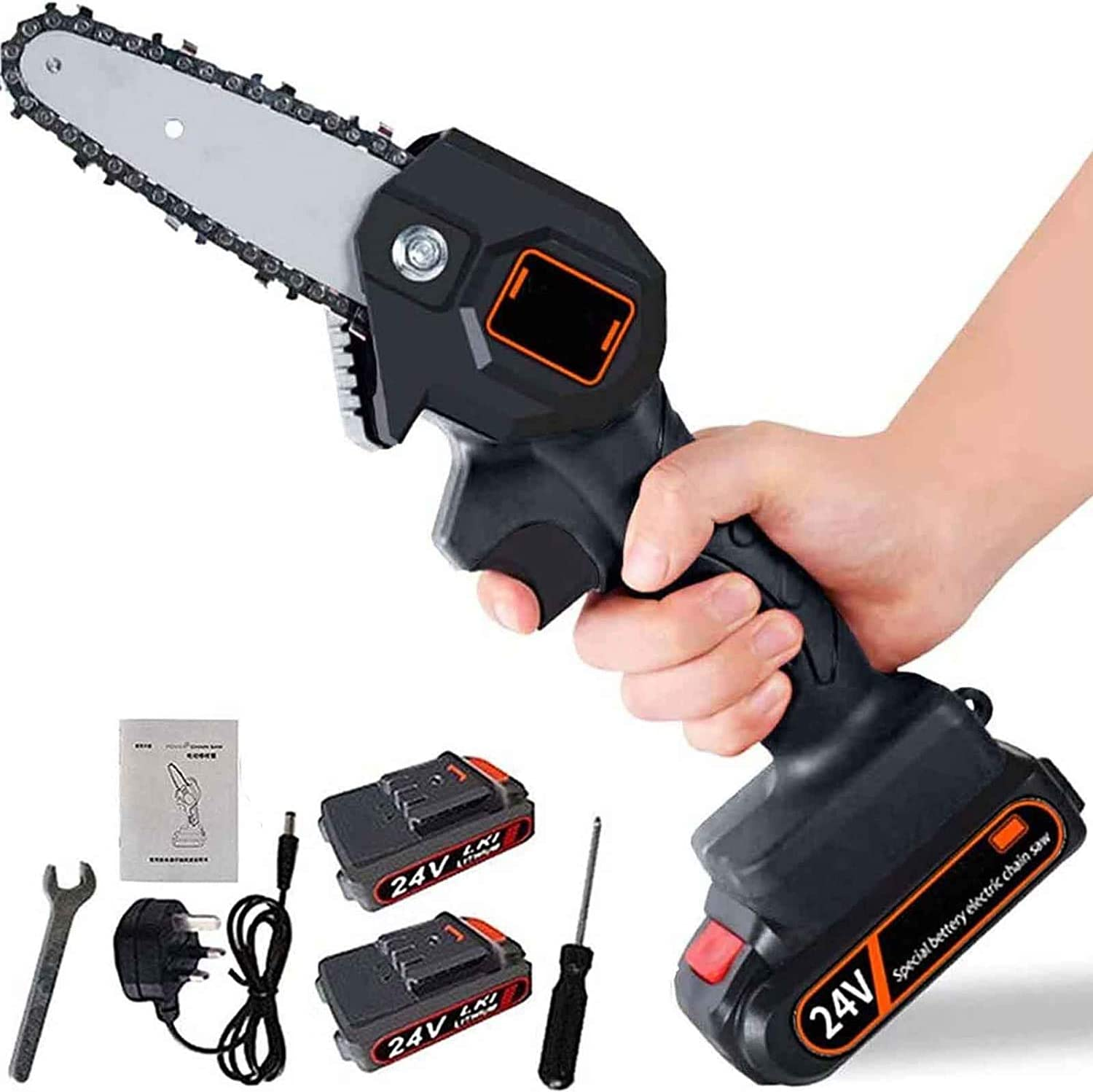 Mini Electric Saw,Electric Branch Cutter,Mini Chainsaw,Handheld Cordless Chainsaw with Charger and 2 Battery 24v Battery Handheld Pruning Saw,Adjustable Cutting Speed for Wood Cutting Black