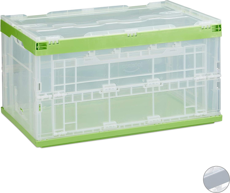 8x Faltbox mit Deckel transparent Transportbox Universalbox Stapelbox klappbar