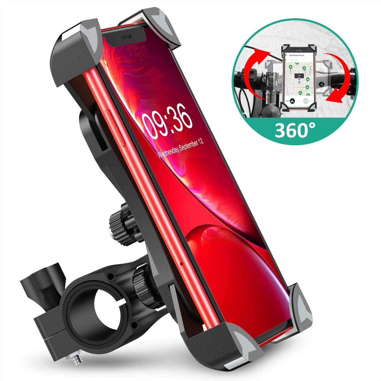 Cocoda Soporte Movil Bici, 360° Rotación Soporte Movil Moto Bicicleta, Anti Vibración Porta Telefono Motocicleta Montaña para iPhone 11 Pro MAX/XS MAX/XR, Samsung S20/S10 y Otro 4.5-7.0
