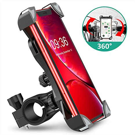 Cocoda Soporte Movil Bici, 360° Rotación Soporte Movil Moto Bicicleta, Anti Vibración Universal Porta Telefono Motocicleta Montaña para iPhone XS ...