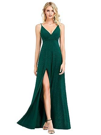 3facdec9ad9d Ever-Pretty Vestido de Fiesta Noche Brillante para Mujer Largo Elástico  Dividido V-Cuello 07417