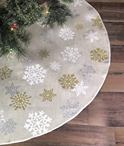 Celebrate A Holiday Christmas Tree Skirt - Premium Quality 50 Inch Diameter Golden, White and Silver Snow Flake Pattern for a Warm Traditional Look - Perfect Compliment to Your Christmas Decorations