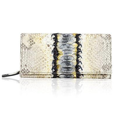 f0bc3b7fe5c9 Silvano Biagini Italian Designer Metallic Platinum Python Leather Wallet  Clutch  Handbags  Amazon.com