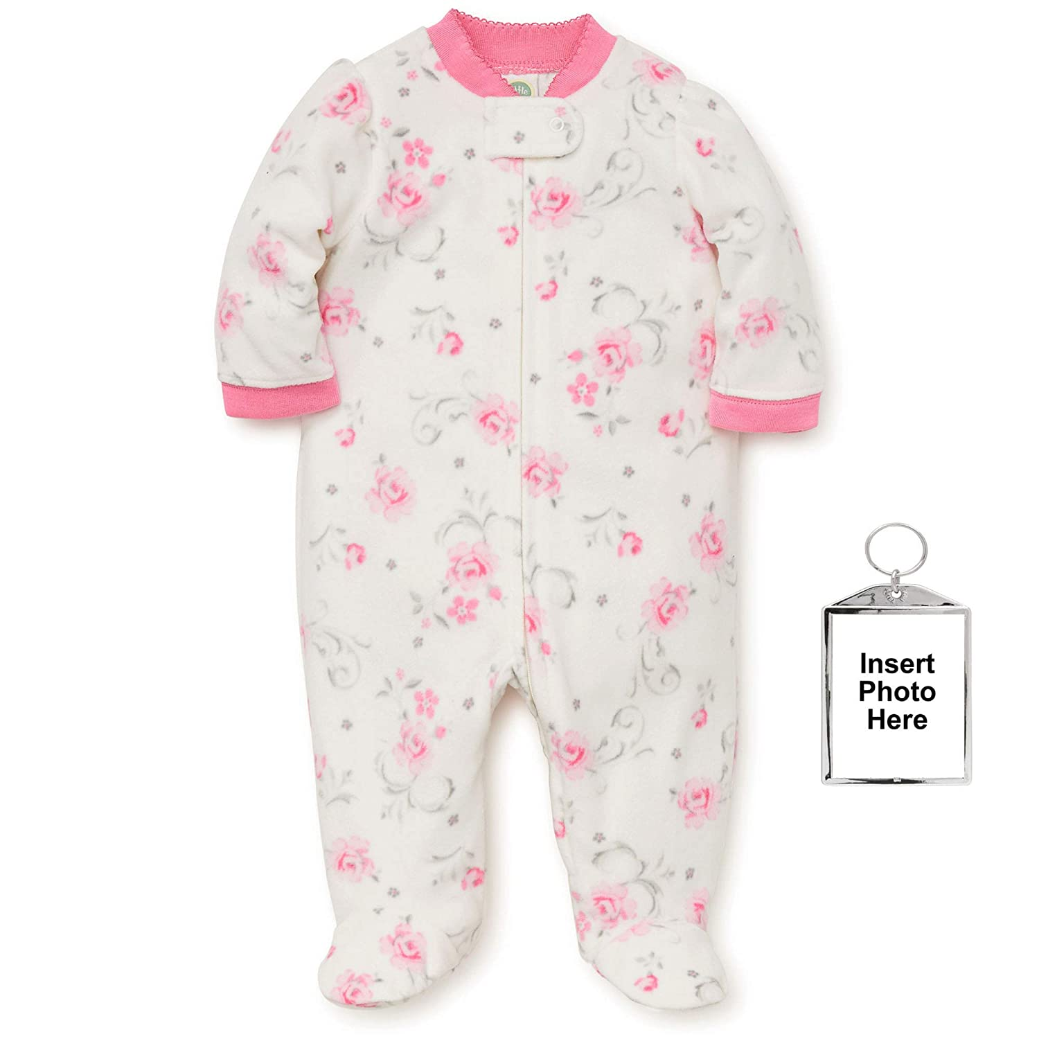 0ab55fb7f4 Amazon.com  Little Me Warm Fleece Baby Pajamas Footed Blanket Sleeper Footie  Rose Ivory 3 Months  Baby