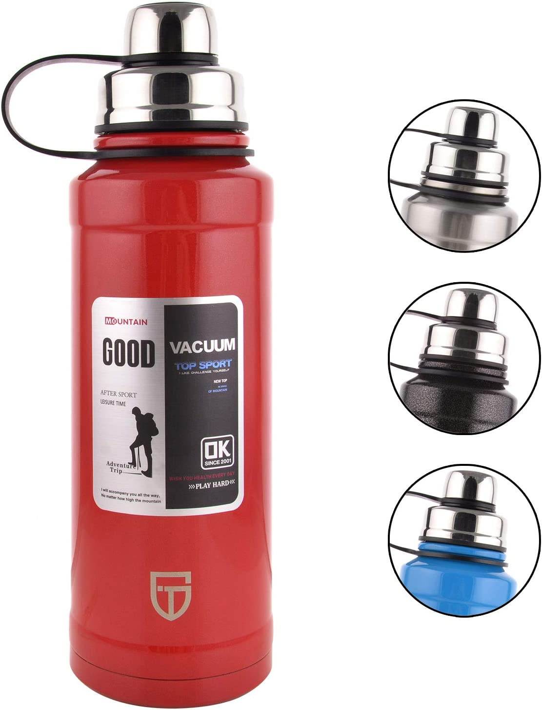 GTI Stainless Steel Vacuum Insulated Water Bottle, 28 Ounce Sports Thermos Flask with Spout Lid, Built-in Filter Thermo Mug, Keeps Hot or Cold with Double Wall Insulated Sweat Proof Design, Red.