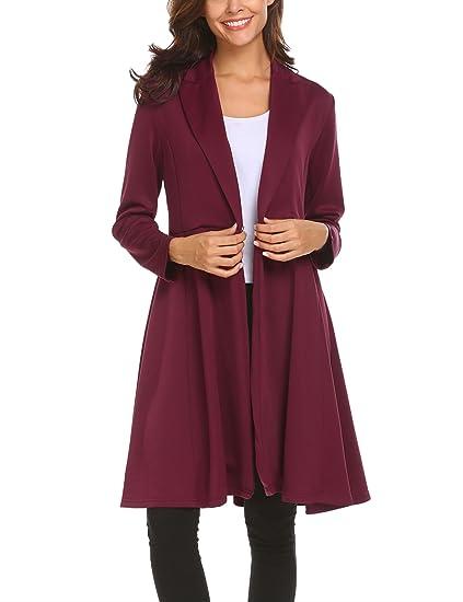 free shipping 3fe62 180a1 SE MIU Women's Elegant Lapel Trench Coat High Waist Slim Casual Swing Coat