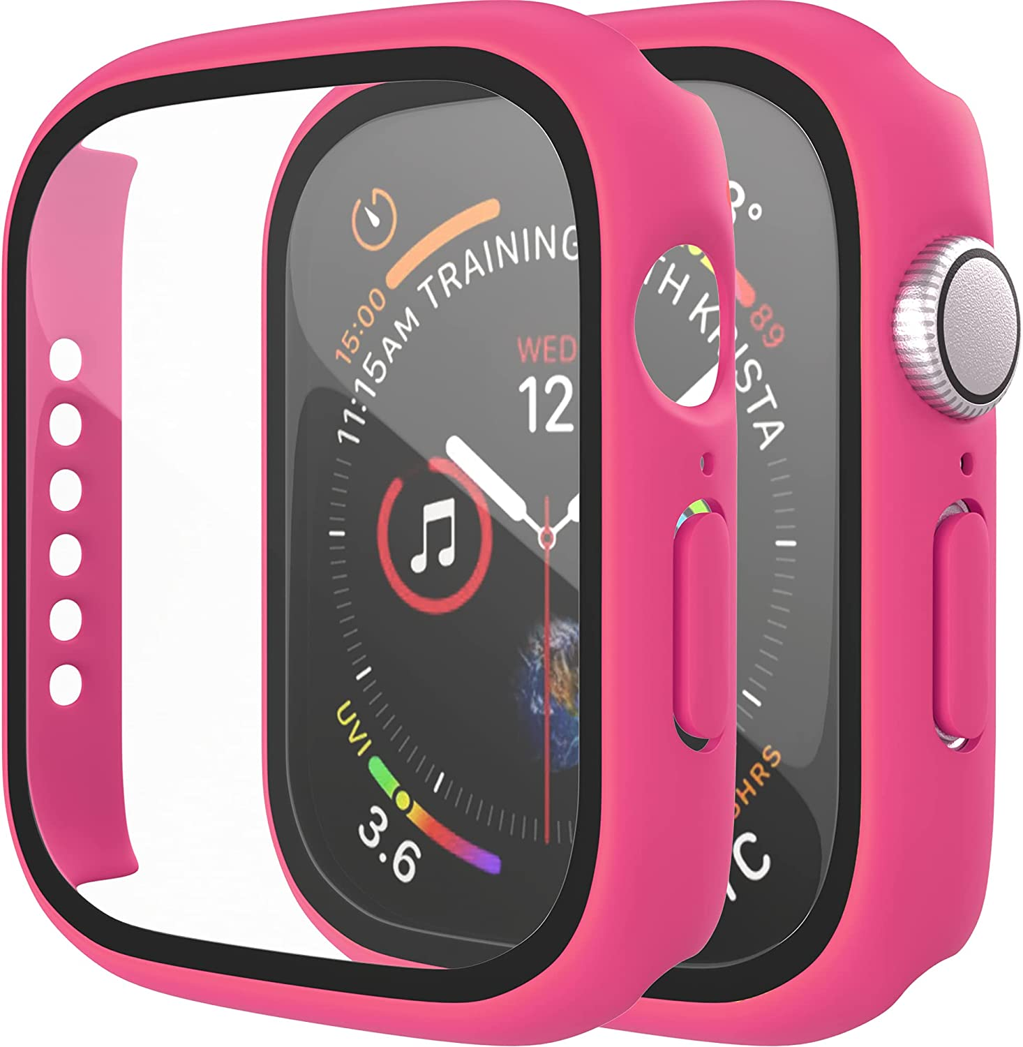 [2 Pack] D & K Exclusives Compatible with Apple Watch 38mm Case, Full Coverage Bumper Protective Case with Screen Protector for Men Women iWatch Series 3/2/1, Hot Pink