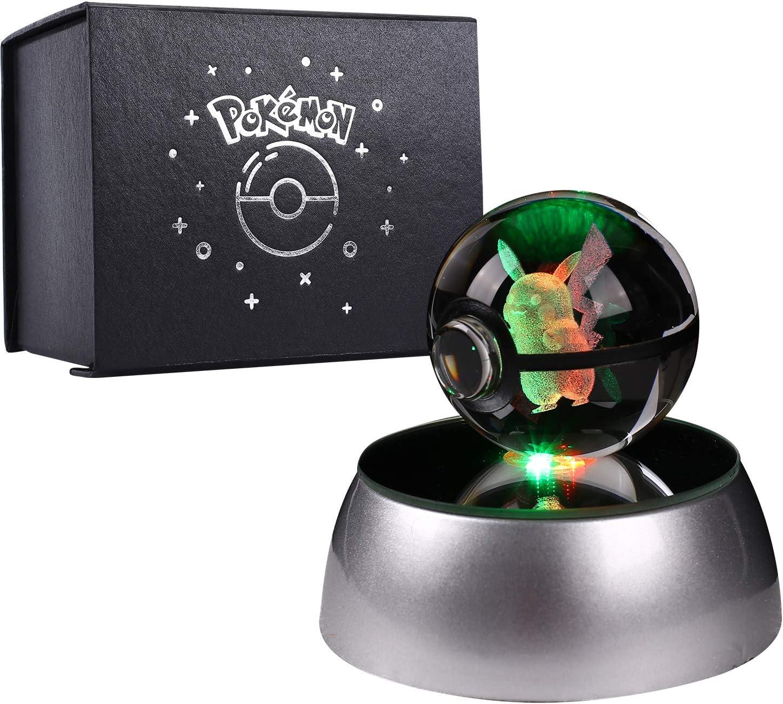 3D Bola de Cristal Luz Nocturna Lámpara Pokémon Series Laser Engraving Regalo de Navidad Para Niños 50mm Ball Base de Decoloración Automática - Pikachu