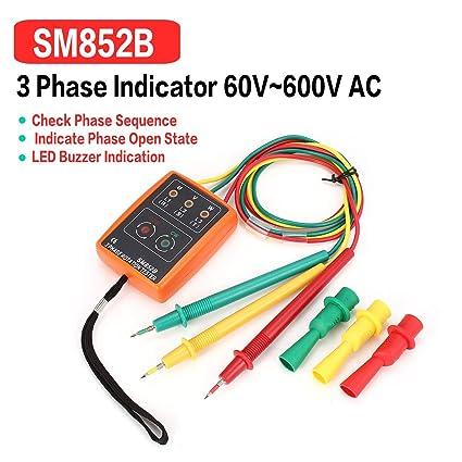 SM852B Probador de rotación de 3 fases Indicador de fase digital Detector LED Zumbador Probador de