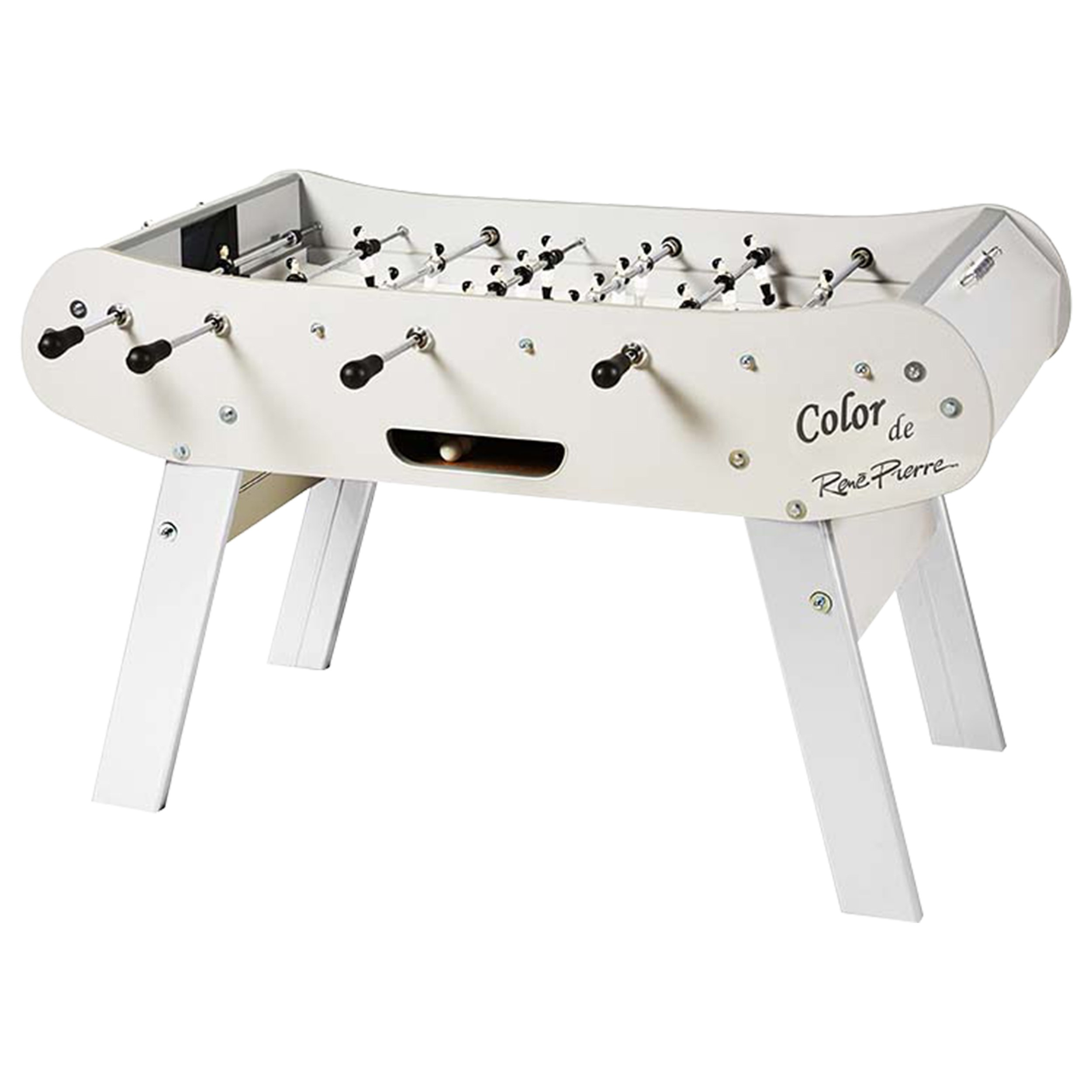 René Pierre Color White Foosball Table with Safety Telescoping Rods, Ergonomic Handles, and Single Goalies by René Pierre