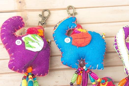 Amazon.com: Elefante Llavero Bolso tela accesorios con ...