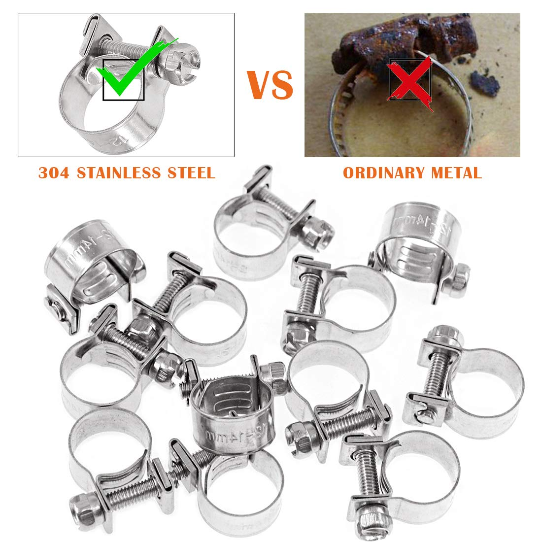 14-16mm Rustark 12 Pcs Mini Fuel Injection Hose Clamp Adjustable 14-16mm Range Stainless Steel Hose Clips for Plumbing Automotive and Mechanical