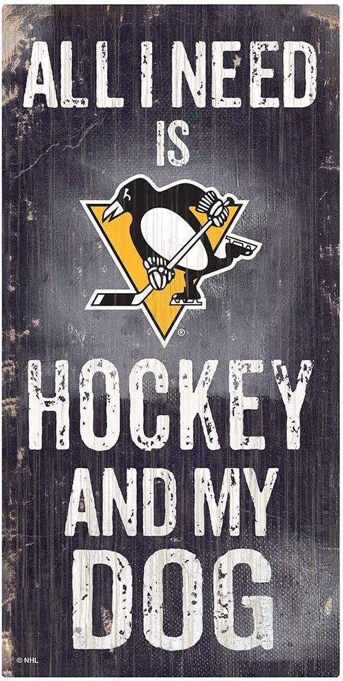 Fan Creations NHL Pittsburgh Penguins Unisex Pittsburgh Penguins Hockey and My Dog Sign, Team Color, 6 x 12