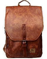 Zebella Unisex Vintage PU Leather Backpack School College Bookbag Laptop