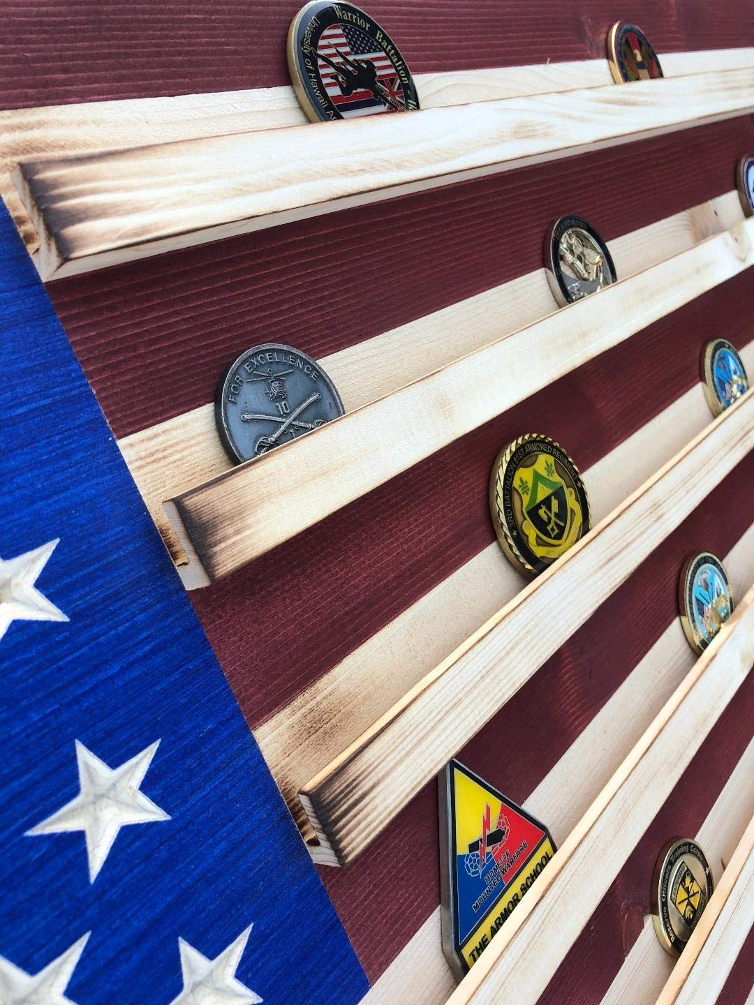 Large Rustic American Flag Challenge Coin Display THIN BLUE LINE