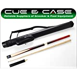 Cue & Case Queue de billard anglais en 3 parties, étui tubulaire et extension Rouge Procédé 8,5 mm 140 cm