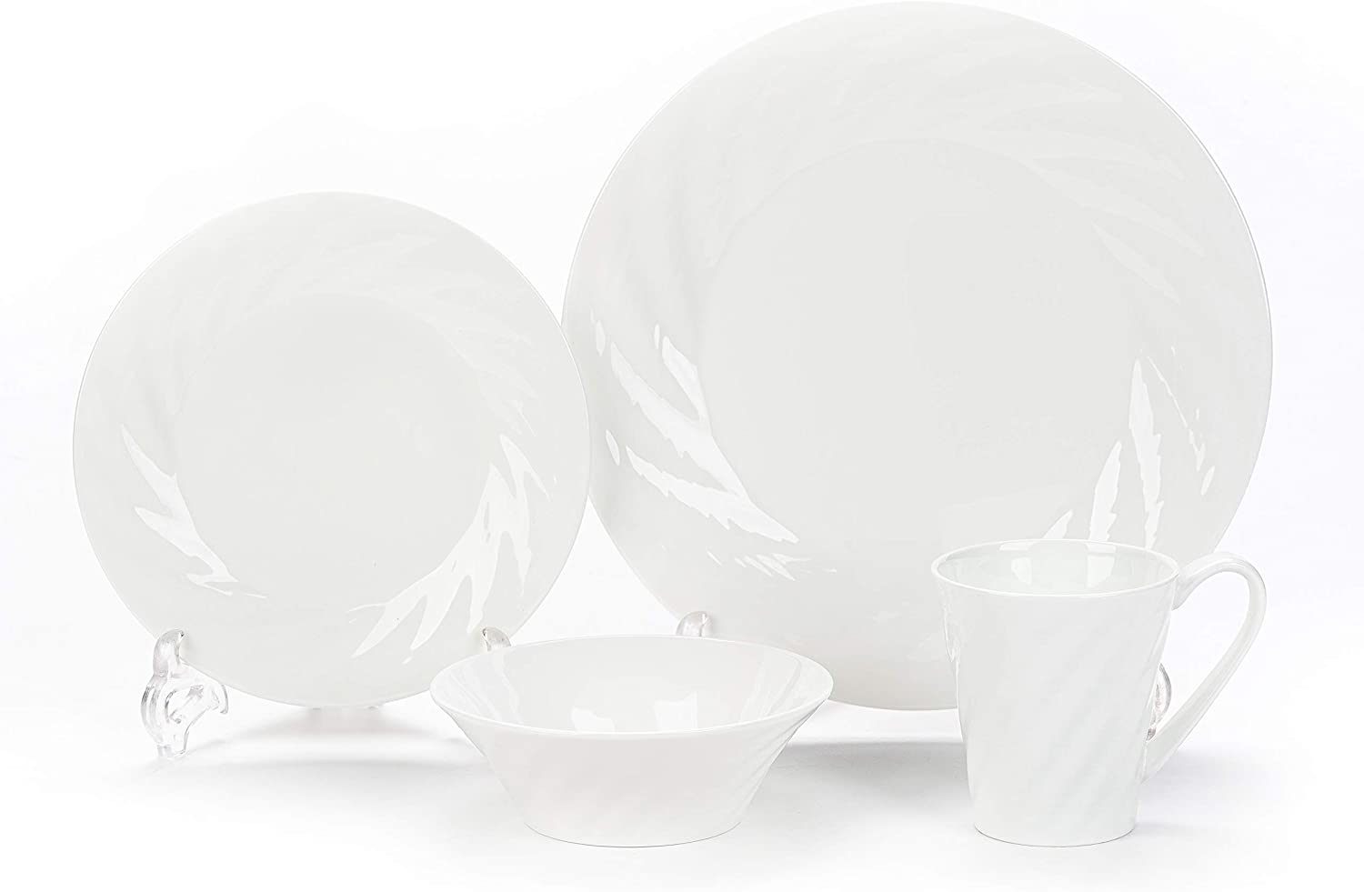 4 Piece Bone China Dinnerware Set, Dishes,Bowls,Cups,Service for 1,White