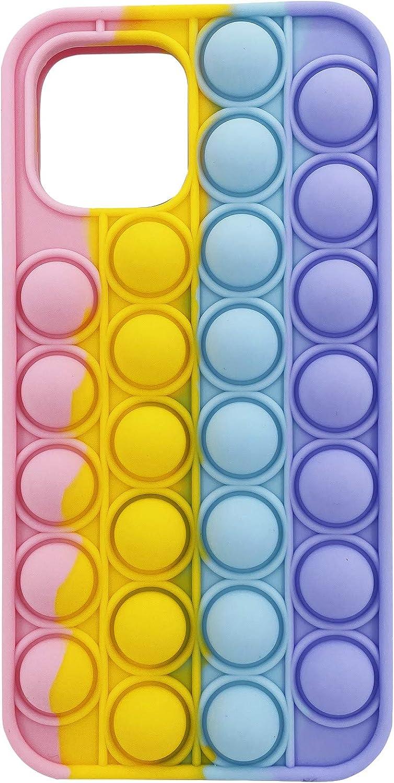 Moreup Pop It Phone Case for iPhone 6 7 8 Plus X XS XR Max 11 11 PRO 12 12 Pro Max | Push Pop Bubble Fidget Toys Mobile Phone Protective Shell (Rainbow, for iPhone 6/7/8 Plus)
