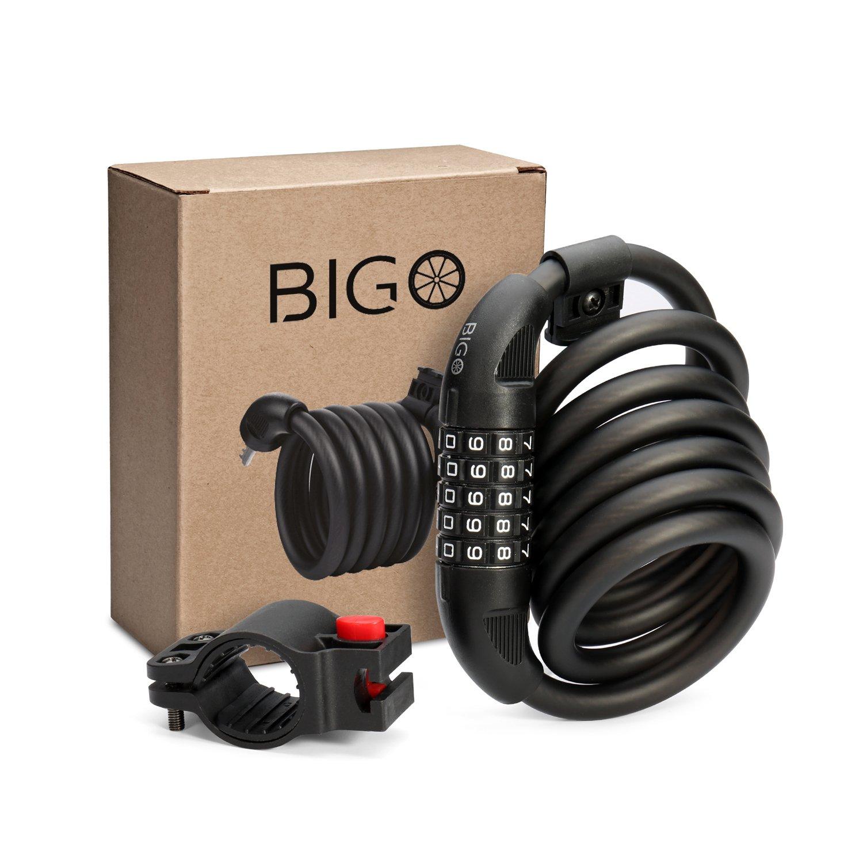 Candado de Bicicleta BIGO Seguridad Candado de Cable Mejor Combinaci/ón con Flexible montaje Cable de Bloqueo antirrobo alta seguridad para la bicicleta al Aire Libre 180cm X12mm