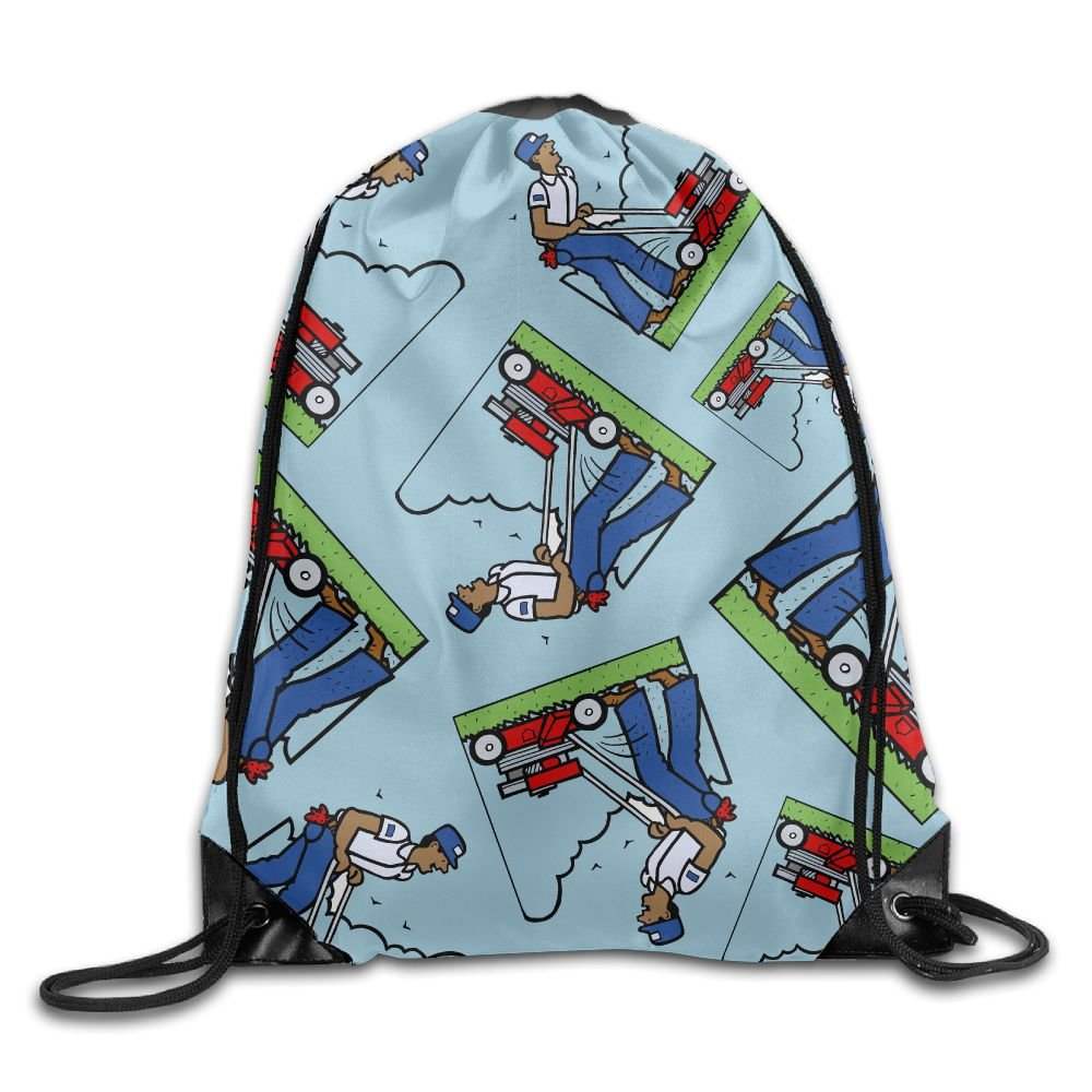Mowing Lawn Gift Print Unisex Storage Gift Bag Sports Drawstring Backpack