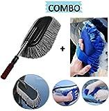 Lukzer Car Accessories Combo (2 PC) – 1 PC Microfiber Car Cleaning Retractable Brush Duster + 1 PC Multipurpose Car Cleaning Sponge (Random color)