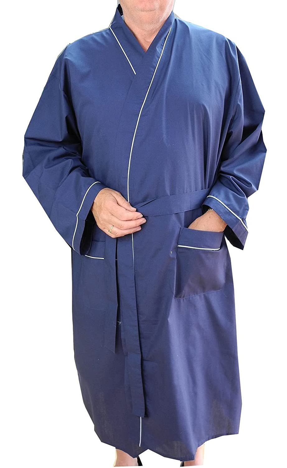 Mens Lightweight Polyester Cotton Dressing Gown Robe Navy Blue Big ...