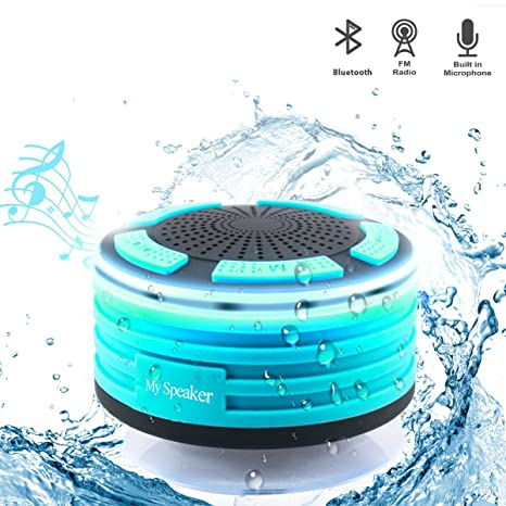 Altavoz Bluetooth, altavoz inalámbrico portátil IPX7 impermeable ducha radios con radio FM integrada y LED