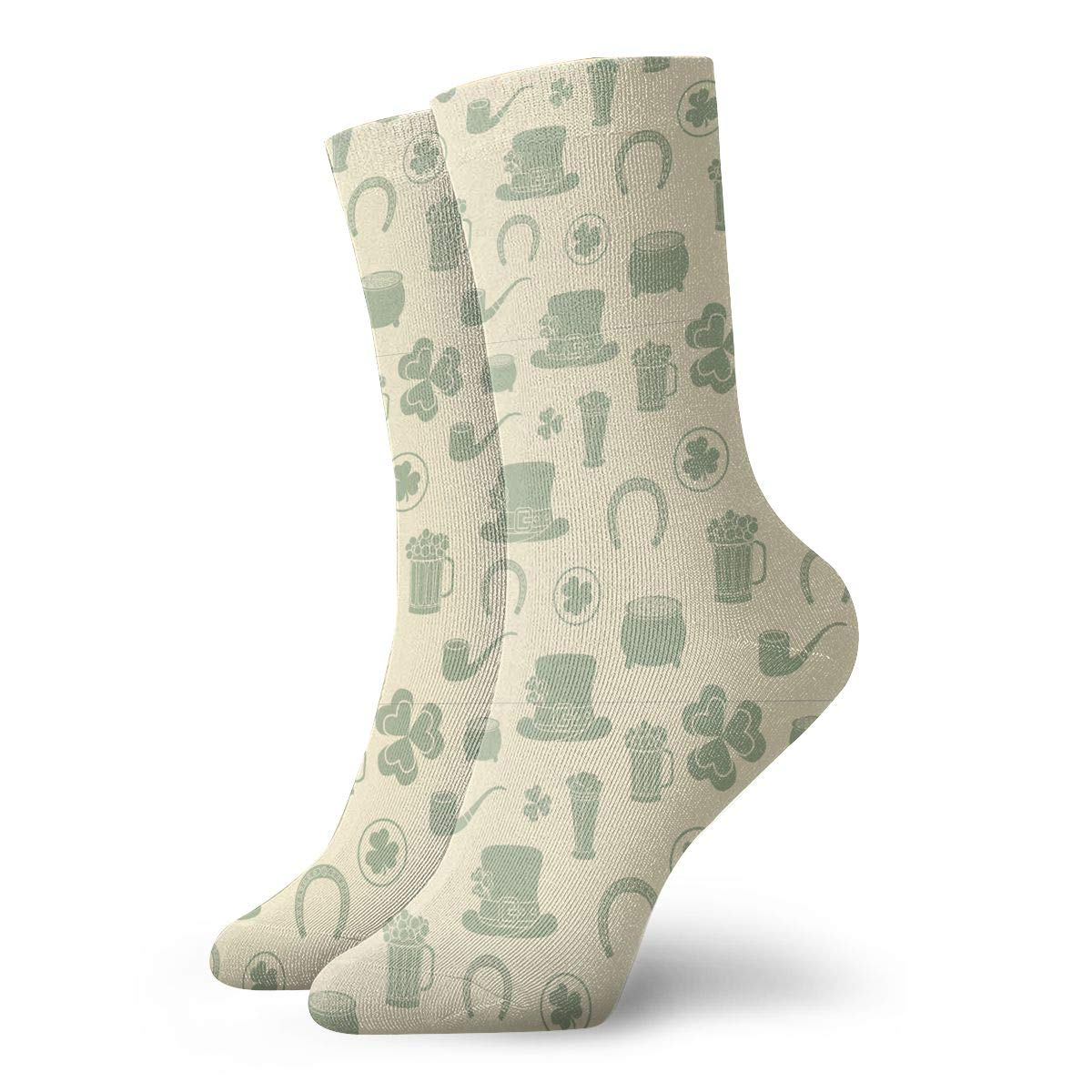 Unisex St Patricks Day Decorations Yellow Clover Athletic Quarter Ankle Print Breathable Hiking Running Socks