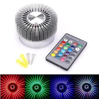 3W RGB LED Lampe Effektlicht Wandleuchte Deckenlampe Fernbedienung Flurlampe AP