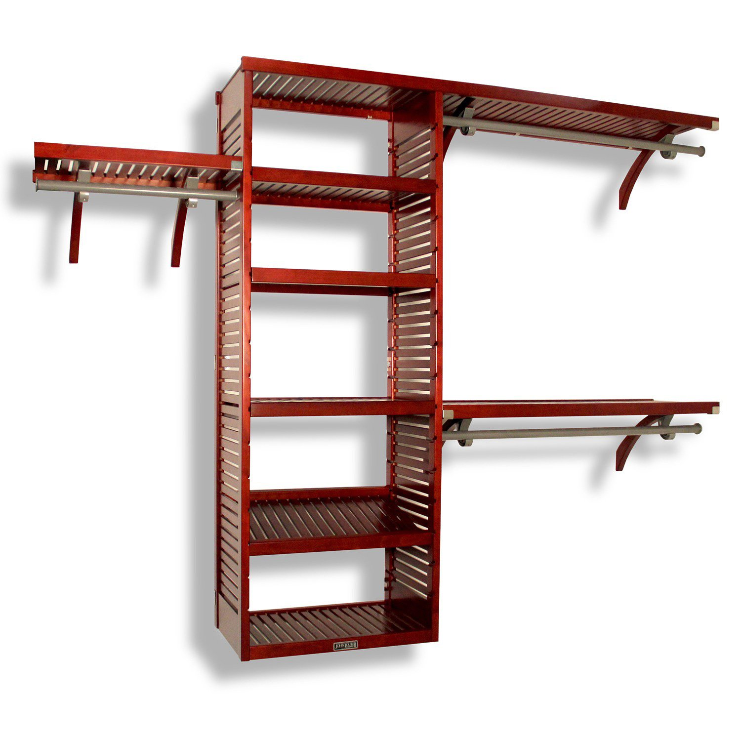 Amazon.com: John Louis Home JLH 526 Deluxe 16 Inch Deep Closet Shelving  System, Red Mahogany: Home U0026 Kitchen