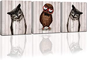 Purple Verbena Art Creative Owl Family Baby Owl with Glasses Cute Bird Canvas Modern Artwork Living Room Bedroom Wall Decor 12''x12'',3Pcs,Stretched and Framed
