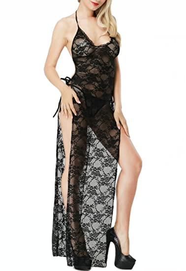 Amazoncom Bhwin Womens Lingerie Plus Size Halter Black Lace Sexy