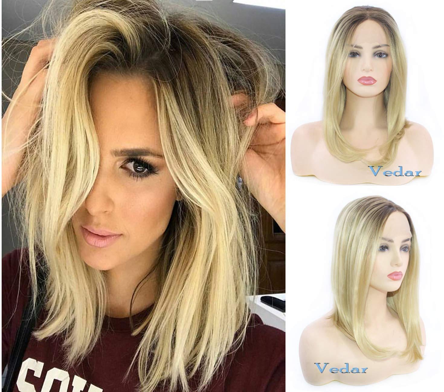 Vedar 2019 Hollywood Celebrity Wigs for Women Middle Part Light Blonde Lace  Front Wigs with Brown Roots Ombre Short Bob Wigs Glueless Synthetic Blonde