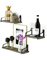 Love-KANKEI Rustic Shelves, Decorative Wall Shelf Set of 3, Floating Shelves for Bathroom, Bedroom, Living Room,Kitchen, Office and More Carbonized Black