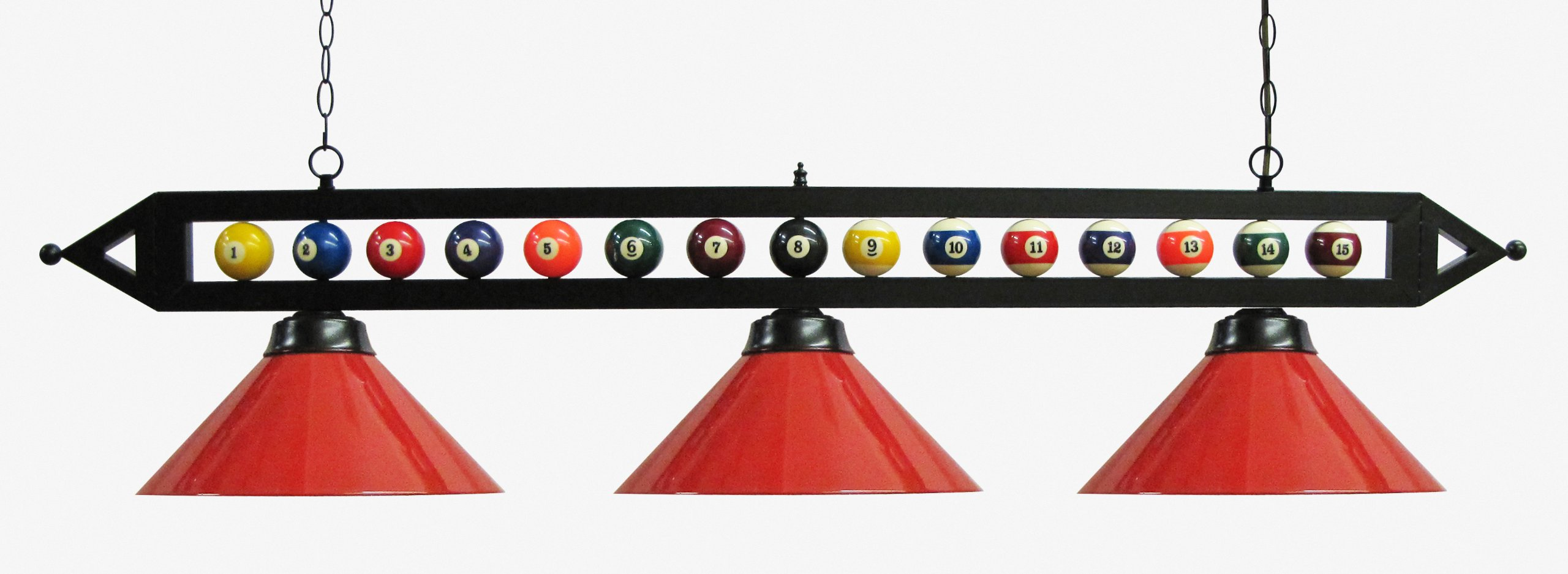 59'' Black Metal Ball Design Pool Table Light Billiard Lamp Choose Black, Red, Green Metal Shades or White Glass (Red Metal Shades)