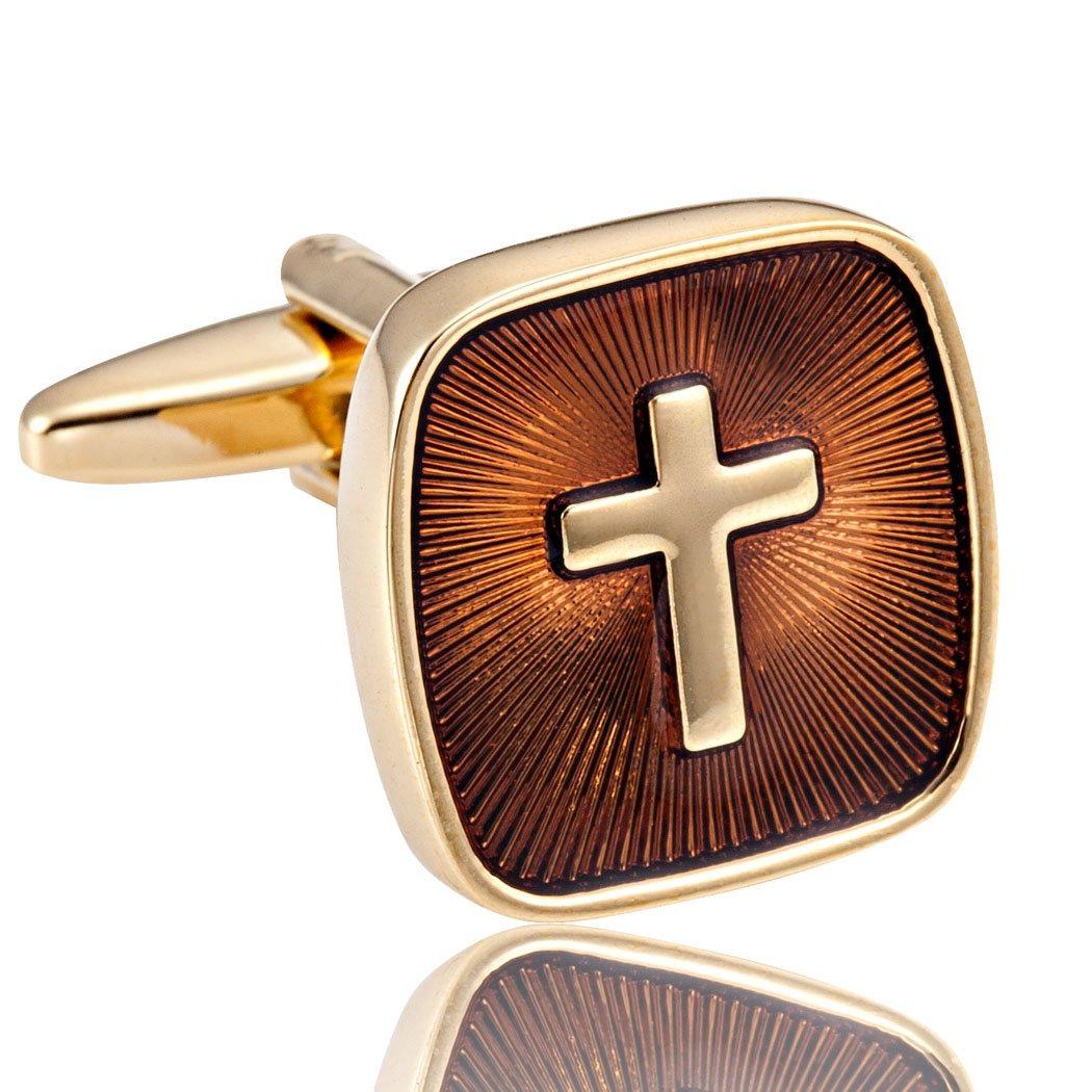 Surprenants boutons de manchette acier inoxydable avec sainte Croix dor/ée