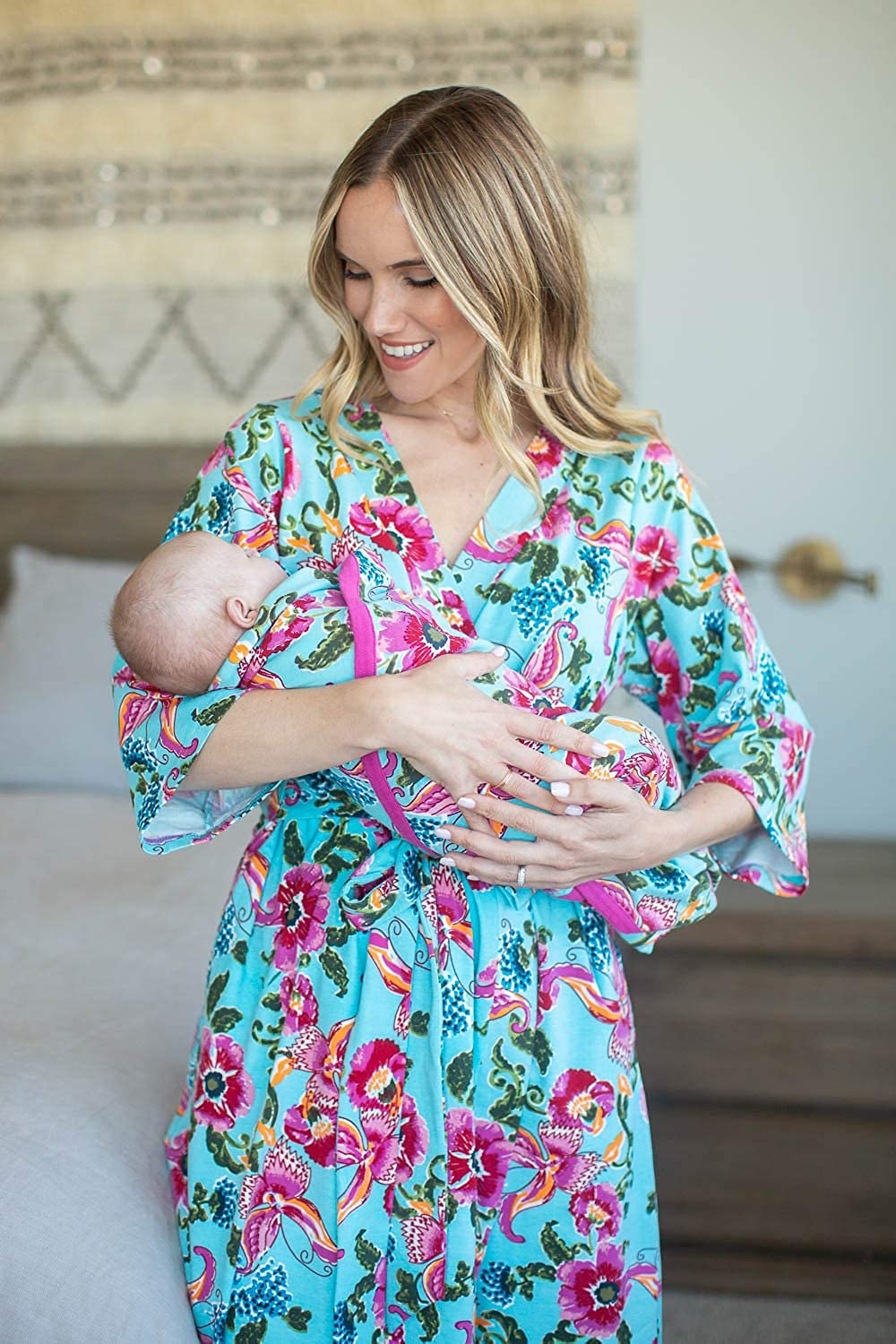 Matching Maternity//Delivery Robe with Baby Swaddle Set Mom and Baby