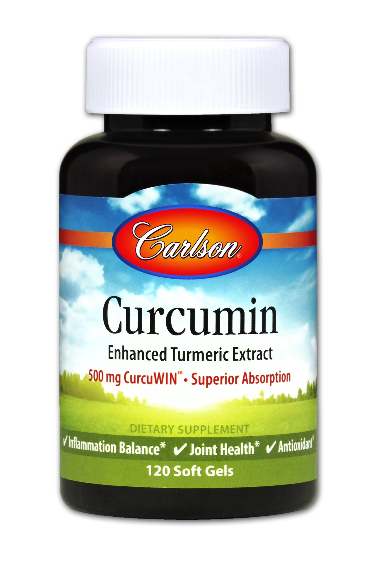 Carlson - Curcumin Enhanced Turmeric Extract, 500 mg CurcuWIN - Superior Absorption, Inflammation Balance & Joint Health, Antioxidant, 120 Soft gels
