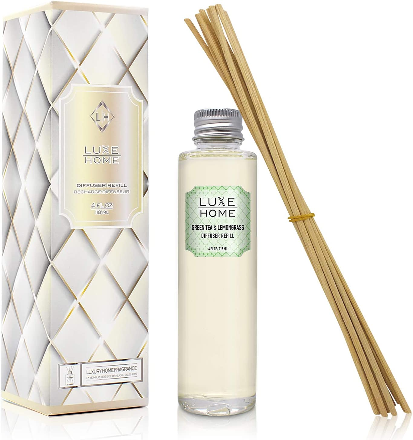 Luxe Home Green Tea & Lemongrass Reed Diffuser Refill Oil with Sticks   Scent Notes of Valencia Oranges, Lemongrass and Fresh-Cut Greens   Scented Replacement Oil for Room Diffuser