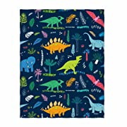 QH 58 x 80 Inch Dinosaur & Plant Pattern Super Soft Throw Blanket for Bed Couch Sofa Lightweight Travelling Camping Throw Size for Kids Adults All Season