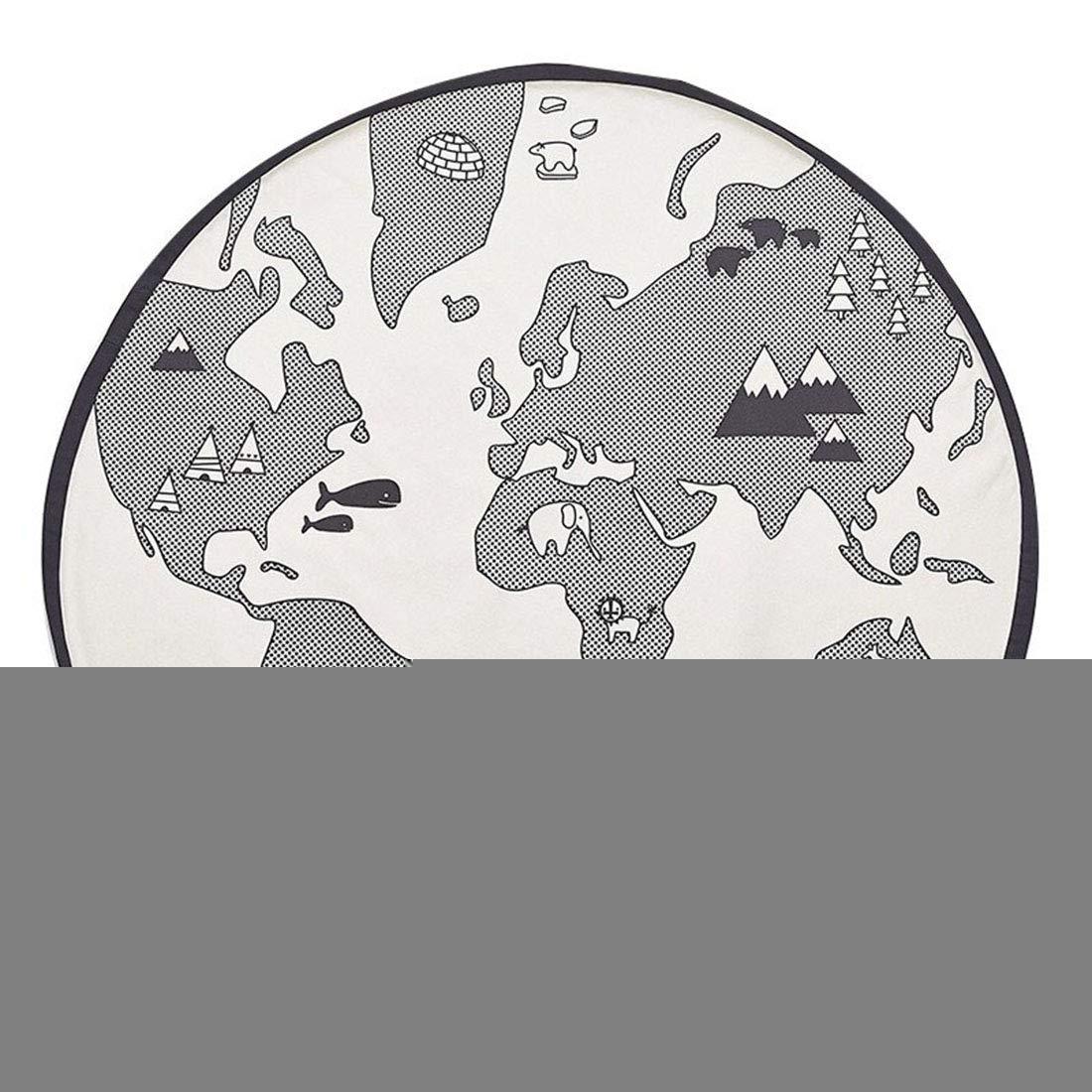 Jiyaru Alfombra Infantil Redondo y de Juego con diseño de Mapa del mundo,Diámetro 135cm