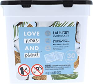 Love Home & Planet Coconut Water & Mimosa Flower Laundry Detergent Packets (30 Count)