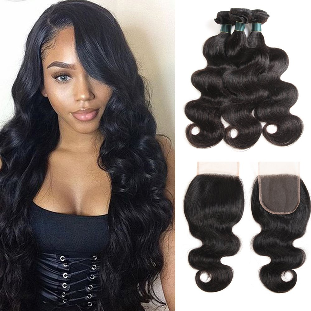 Brazilian Body Wave Bundles with Closure 100% 7A Unprocessed Virgin Hair Human Hair Bundles with Closure Natural Color (10 12 14 with 8 Free Part)
